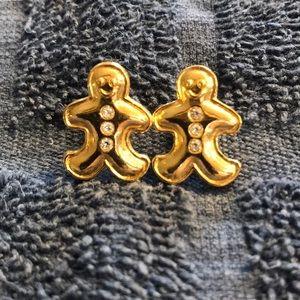 Avon Gingerbread Man Goldtone Earrings CZ Accents